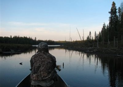 bow hunting out of a canoe